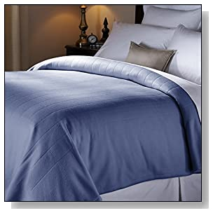 Sunbeam Heated Blanket | 10 Heat Settings, Quilted Fleece, Newport Blue, Full