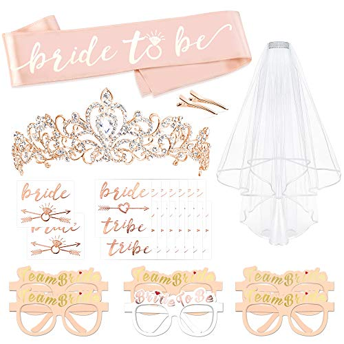 Rose Gold Bachelorette Party Decorations Kit, Konsait Bridal Shower Favor Supplies Gift Hen Party Bachelorette Accessories| Metal Rhinestone Tiara | Bride to Be Sash | Veil | Metallic Team Bride Flash Tattoos by Konsait
