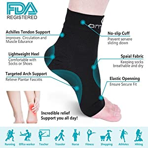 Plantar Fasciitis Socks - Compression Foot Sleeves for Men & Women, Best Plantar Fasciitis Compression Sock for Ankle Pain Relief, Heel Pain, and Treatment for Everyday Use with Arch Support (M)