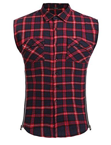 Men's Casual Flannel Plaid Shirt Sleeveless Side Zipper Cotton Plus Size Vest