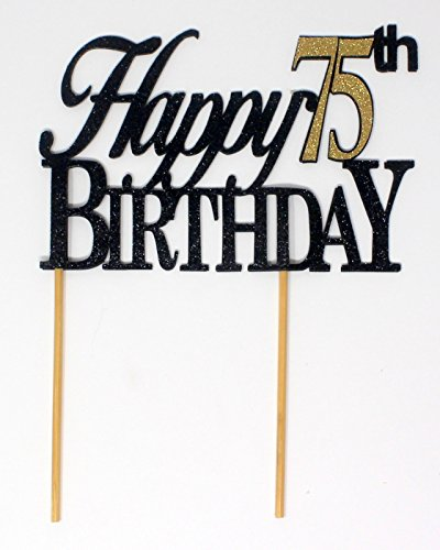 All About Details Happy 75th Birthday Cake Topper,1pc, 75th