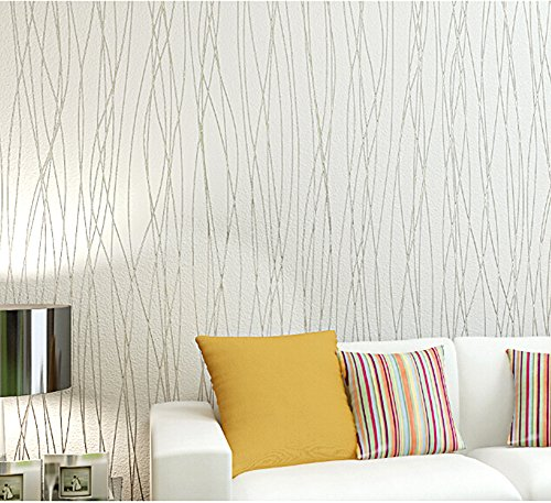 Classic Wallpaper - Blooming Wall:Non-Woven Classic Plain Stripe Moonlight Forest Textured Wallpaper,20.8 In32.8 Ft=57 Sq ft Per Roll, Pure White