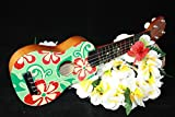 """Ukulele - Green and Red Hibiscus Floral Print 18"""" 