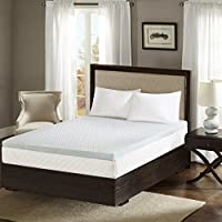Sleep Philosophy Gel Memory Foam Mattress Protector Cooling Bed Cover Queen White
