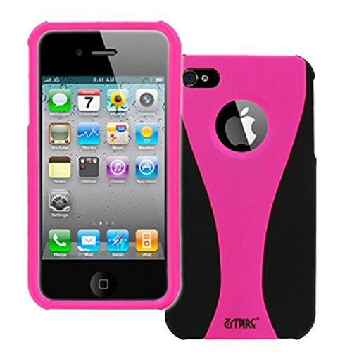 EMPIRE Apple iPhone 4 / 4S Hot Pink Rosa & Schwarz Duo Shield Gummierte Harte Case Tasche Hülle Cover