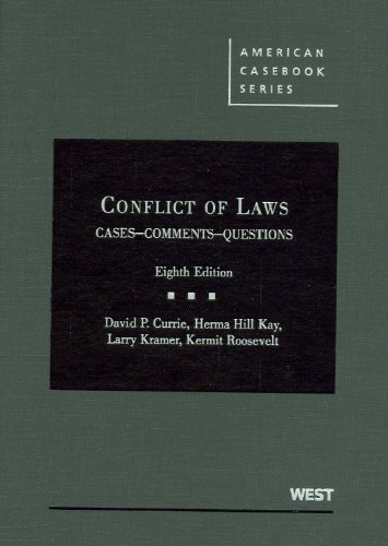 Cheapest Copy Of Conflict Of Laws Cases Comments Questions American Casebook Series By