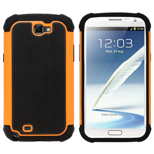(Fenzer Orange Hybrid Rubber Matte Hard Case Cover for Samsung Galaxy Note 2 II SCH-R950 SCH-i605 SGH-T889 SGH-i317 SPH-L900 Cell Phone)