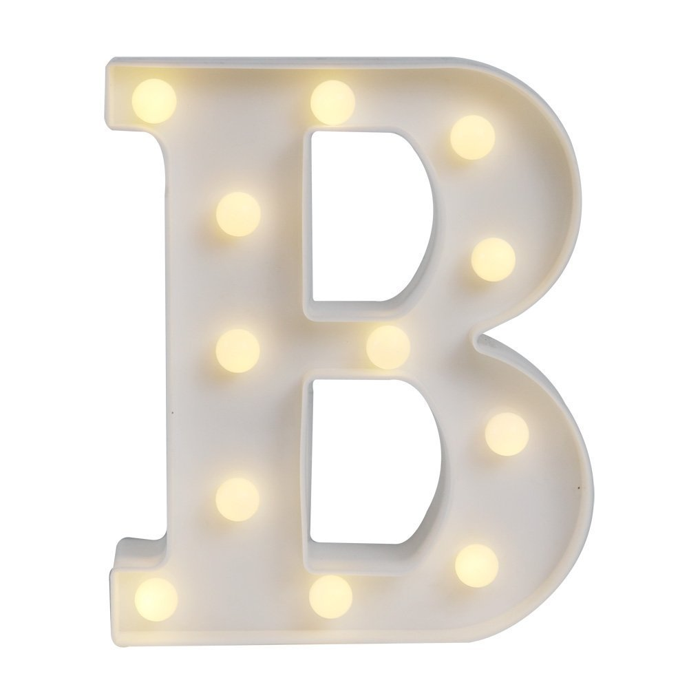 HiveNets LED Decorative Light up Alphabet Letters for Birthday Wedding Party Bar Bedroom Wall Hanging Decor (J)