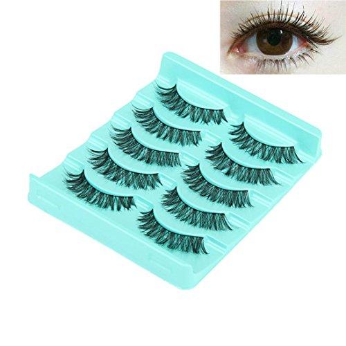 Iuhan Big sale! Sexy 5 Pair/Lot Crisscross False Eyelashes Lashes Voluminous Hot Eye Lashes (Black)