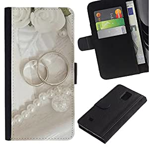 JackGot ( Ring coppia ) Samsung Galaxy Note 4 IV la tarjeta de Crédito Slots PU Funda de cuero Monedero caso cubierta de piel