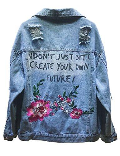 Women Letter Printing Denim Jacket Embroidered Floral Coat (S, Blue) Denim Barn Coat