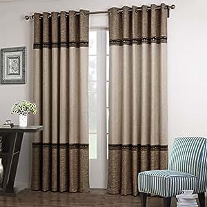 Gwell cortinas de lino sint tico con aislante t rmico con ollaos marr n beige 100x160cm 39 - Cortinas lino beige ...