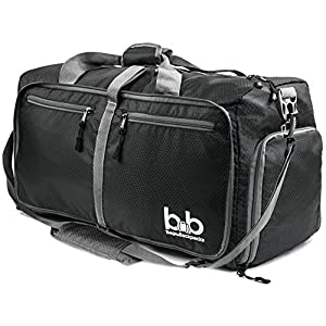 BB Bags&Backpacks - Medium Gym Duffle Bag with Pockets - Packable Duffel for Men and Women (Black)