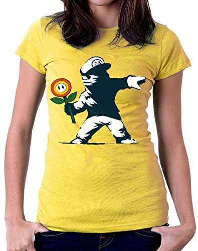 by Mario S tutte Deal uomo maglietta gialla Banksy shirt XXL M Graffitto fiori Super XL donna L taglie le T tshirteria 7wIU0xnq7