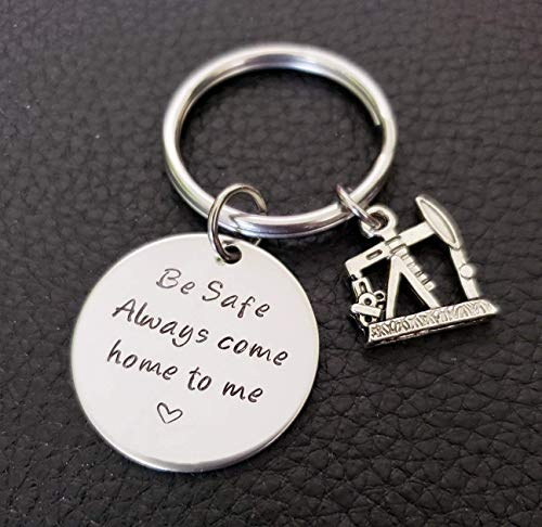 (Oil Field Worker Be Safe Key Chain with Oil Well, Always Come Home to Me, Oil Field Wife Be Safe Gift)