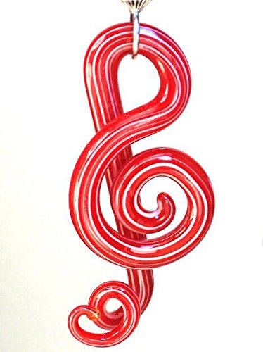 A Beautiful Big Blown Glass Red Treble Clef Music Note Symbol & Velvet Heart Ceiling Fan Pull Chain