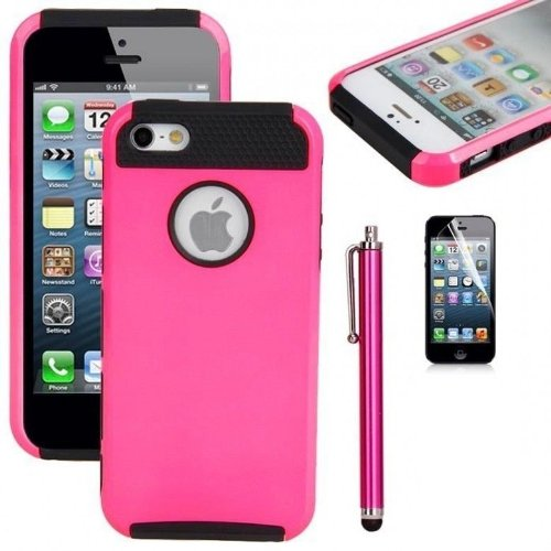 tcd-for-apple-iphone-5-5s-hot-pink-on-black-hybrid-rugged-protective-defender-series-combo-case-cove