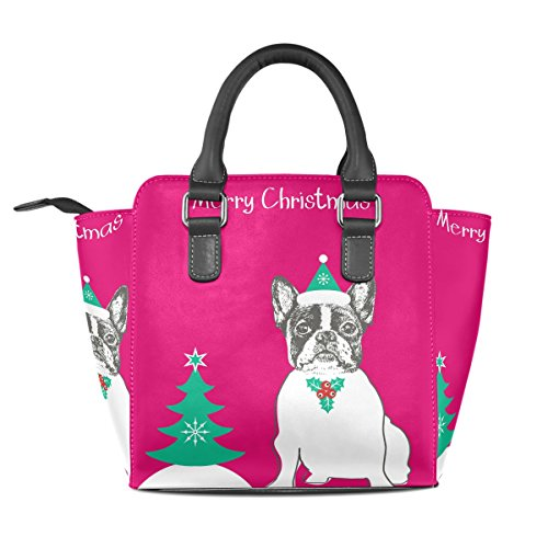 Merry Christmas PU Bags Cute Shoulder Handbags Handle Top French Bulldog TIZORAX Women's Leather FBqwR1wx