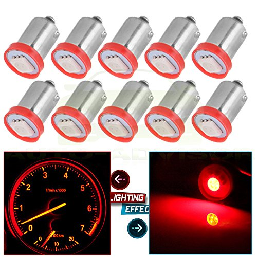 cciyu 10X BA9S LED SMD 1895 DASH INSTRUMENT PANEL CLUSTER Ash Tray Light Bulbs 1815 1816 182 1889 1891 1892 For Instrument panel Glove box License plate Boat cabin lamp Blue (red) -