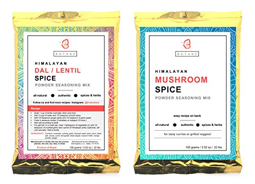 Botanz Himalayan Variety Spice/Seasoning Mix: 1 Pack Dal/Lentil Soup Spice Mix and 1 Pack Mushroom Spice Mix (200 Grams/7.05 Ounces) - Himalayan Lentils