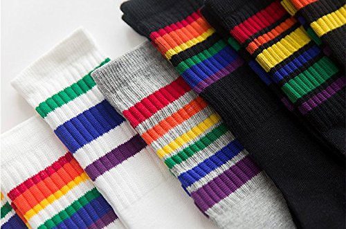 6 Pairs Unisex Toddler /& Childs Cotton Knee High Calf Stripe Athletic Tube Socks