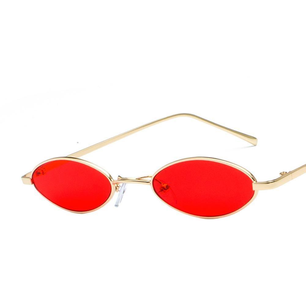 Aoligei Retros gafas de sol borde fino arte del metal las gafas de sol gafas de película gotitas oval gafas de sol océano de agua
