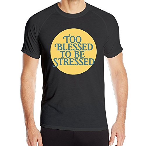 YDT&JJW-15 Men's Too Blessed to Be Stressed All Sport Training Short Sleeves T-Shirt Cool Running Top