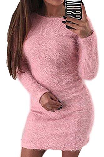 Mujer Lápiz Mohair De Pullover Elegante Invierno Vestido Parte La Rosa Mini Imitacion S7X4nXZ