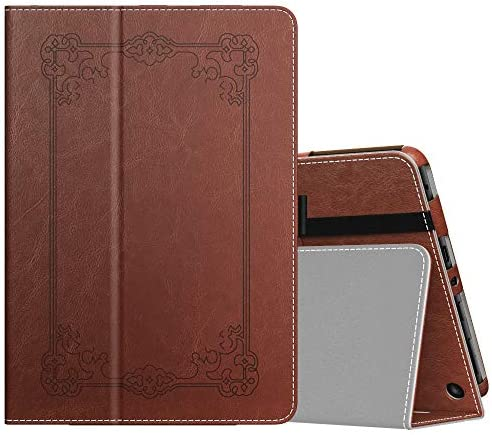 MoKo Case Compatible with All-New Kindle Fire HD 8 Tablet and Fire HD 8 Plus Tablet (tenth Generation, 2020 Release),Slim Folding Stand Cover with Auto Wake/Sleep - Vintage Style