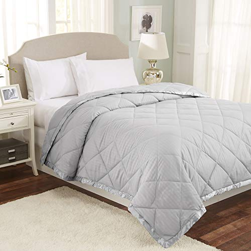 (Home Fashion Designs Romana Collection Luxury Goose Down Alternative Quilted Blanket with Satin Trim (Full/Queen, High Rise Grey))