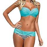 Blivener Women Push Up 2 Pieces Low Waist Bikini Spaghetti Strap Padded Swimsuits