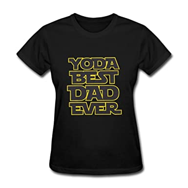 831c6f30f LucyEve Woman's Casual Soft Round Neck Yoda Best Dad Ever T Shirt - Black -  XX