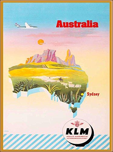 MAGNET Australia by Airplane Map Vintage Australian Travel Art Magnet - Collectible Vintage Map