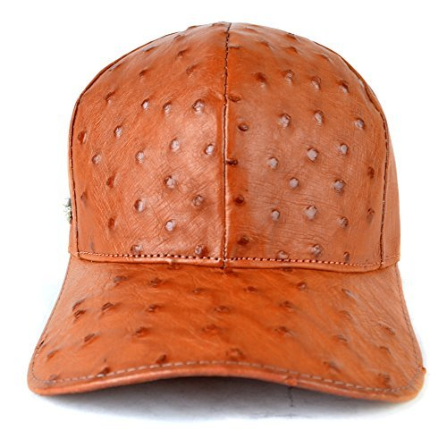 Genuine Ostrich Exotic Skin Adjustable Baseball Cap (Cognac) by FERLO