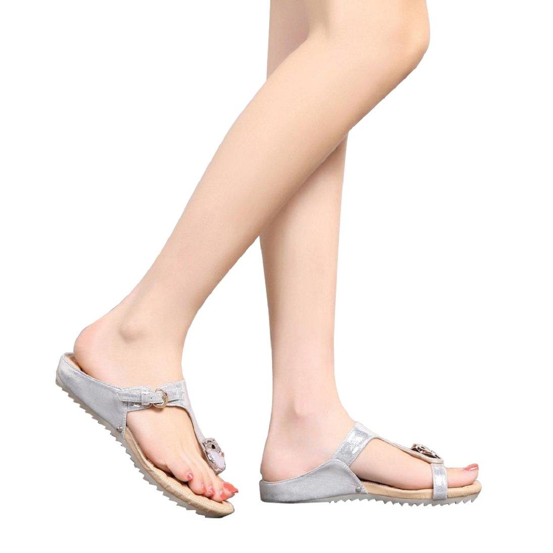Fheaven Women Sweet Rhinestone Flat Heel Anti Slip Beach Shoes Sandals Slipper (US:5, Silver)