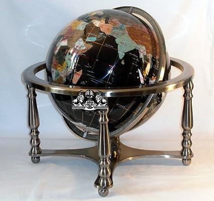 Unique art since 1996 21 black onyx ocean gemstone globe with 4 leg silver stand unique art since 1996 21quot black onyx ocean gemstone globe with 4 leg silver gumiabroncs Image collections