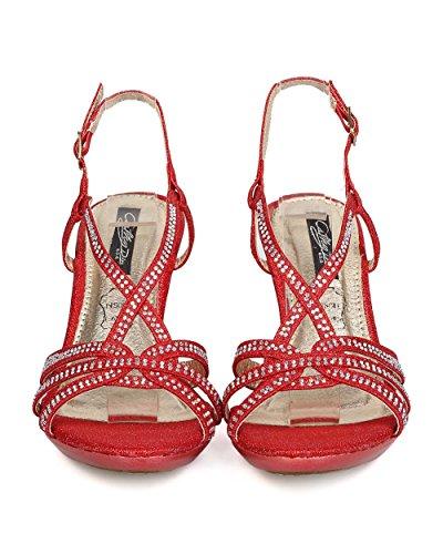 Cathy Din Fc07 Femme Paillettes Similicuir Strass Lanière Strappy Sandale Stiletto - Rouge