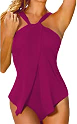 99f4548abf Sovoyant Women s Halter Push Up Wrap One Piece Swimsuit Monokini Purple XXXL
