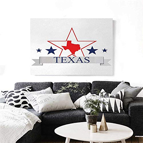 (homehot Texas Star Canvas Wall Art for Bedroom Home Decorations San Antonio Dallas Houston Austin Map with Stars Pattern USA Art Stickers 24
