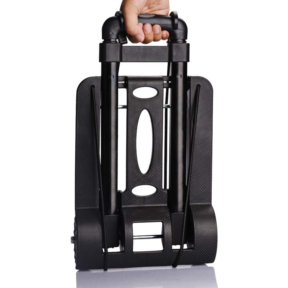 WOHOME Portable Folding Hand Truck, Hand Cart 150 lb Capacity with 4 Wheels for Luggage, Travel, Moving, Shopping, Office Use