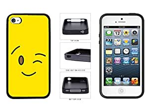 Bright Yellow Wink Smiley Face TPU RUBBER SILICONE Phone Case Back Cover Apple iPhone 4 4s wangjiang maoyi by lolosakes
