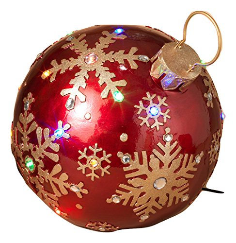 16.25 inch Giant Resin Red Gold Christmas Lights Ornament Gems Yard Lawn Decoration