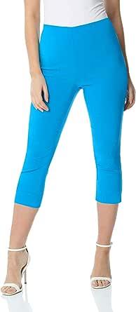 Roman Originals Pantalón Capri elástico de bengalina para Mujer - Pantalón de Corte cónico Estilo años 50, Malla para Verano, Opaca, cómoda y elástica