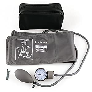 Aneroid Sphygmomanometer Blood Pressure Gauge - LotFancy Manual Blood Pressure Cuff with Zipper Case, FDA Approved (Wide Range Cuff 8-16.5 Inch)