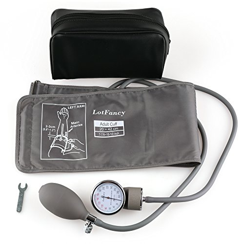 Aneroid Sphygmomanometer Blood Pressure Gauge - LotFancy Manual Blood Pressure Cuff with Zipper Case, FDA Approved (Wide Range Cuff 8-16.5 Inch) Aneroid Sphygmomanometer Adult Latex