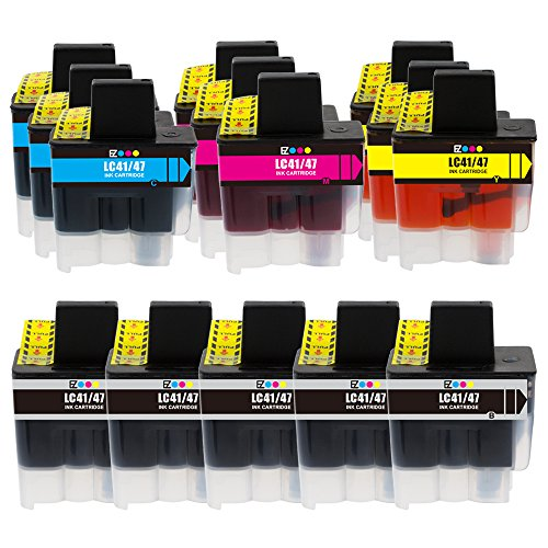 E-Z Ink (TM) Compatible Ink Cartridge Replacement for Brother LC-41 LC41 Series (5 Black, 3 Cyan, 3 Magenta, 3 Yellow) 14 Pack LC41BK LC41C LC41M LC41Y for Intellifax 1840C 1940CN 2440C MFC-820CW (Printer Cartridge Lc41)