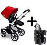 Cheap Bugaboo 2015 Buffalo Stroller Complete Set in Aluminum/Red Canvas Fabric Set + Bugaboo Cup Holder