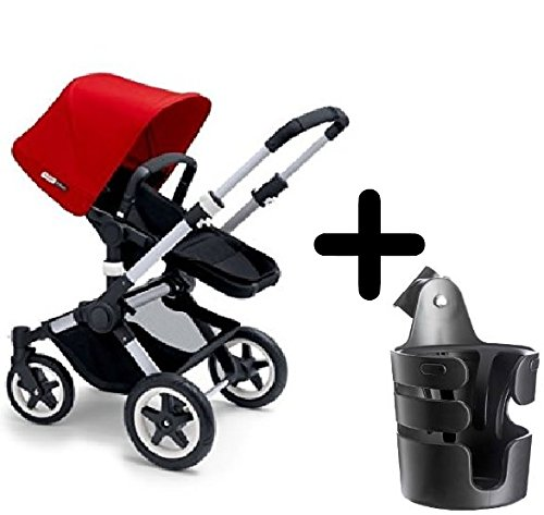 Bugaboo 2015 Buffalo Stroller Complete Set in Aluminum/Red Canvas Fabric Set + Bugaboo Cup Holder
