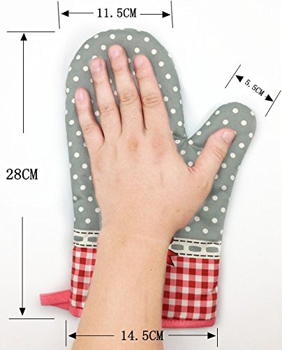 1a54db1ba7b7 MiCoolker(TM) 1 Pair Cute Bow Bowknot Polka Dot Grid Oven Mitt Cooking  Mitts Pot Holder Potholder Heat Resistant Mitt Insulated Glove