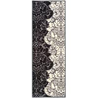 Custom Size Black & Ivory Floral Damask Rubber Backed Non-Slip Hallway Stair Runner Rug Carpet 22 inch Wide Choose Your Length 22in X 12ft